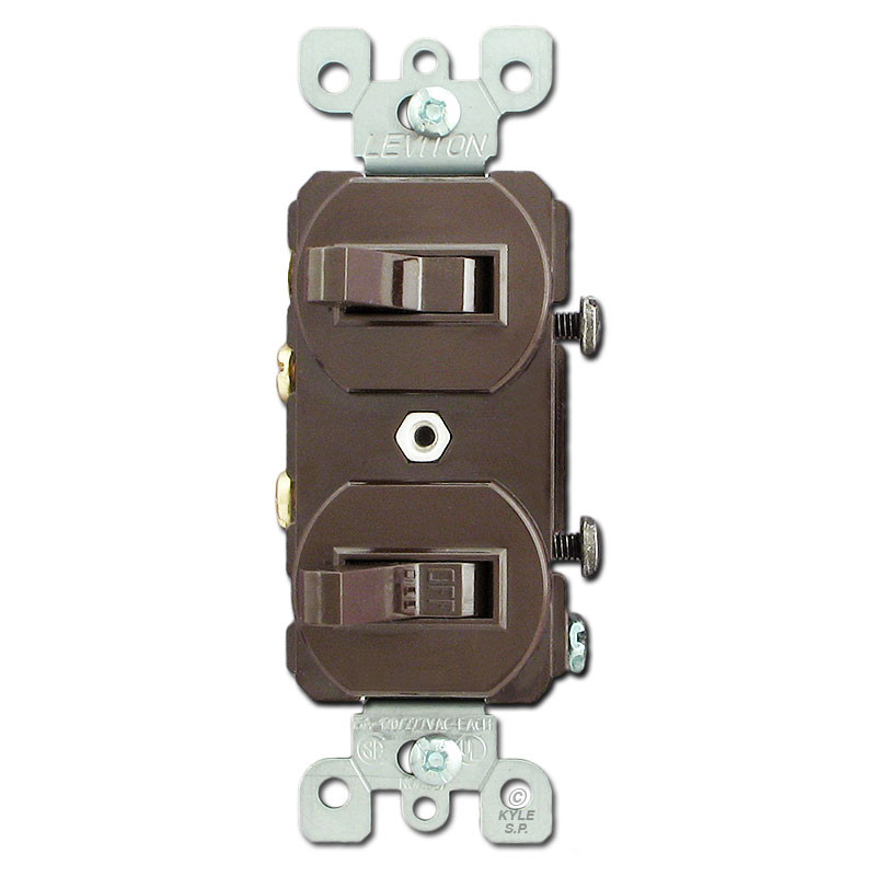 Brown Dual Toggle Switch with Two Single Pole Toggles