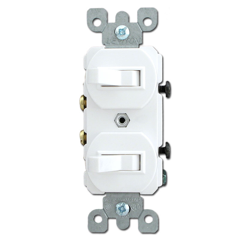 White Horizontal Toggles with Two Single Pole Toggle Switches