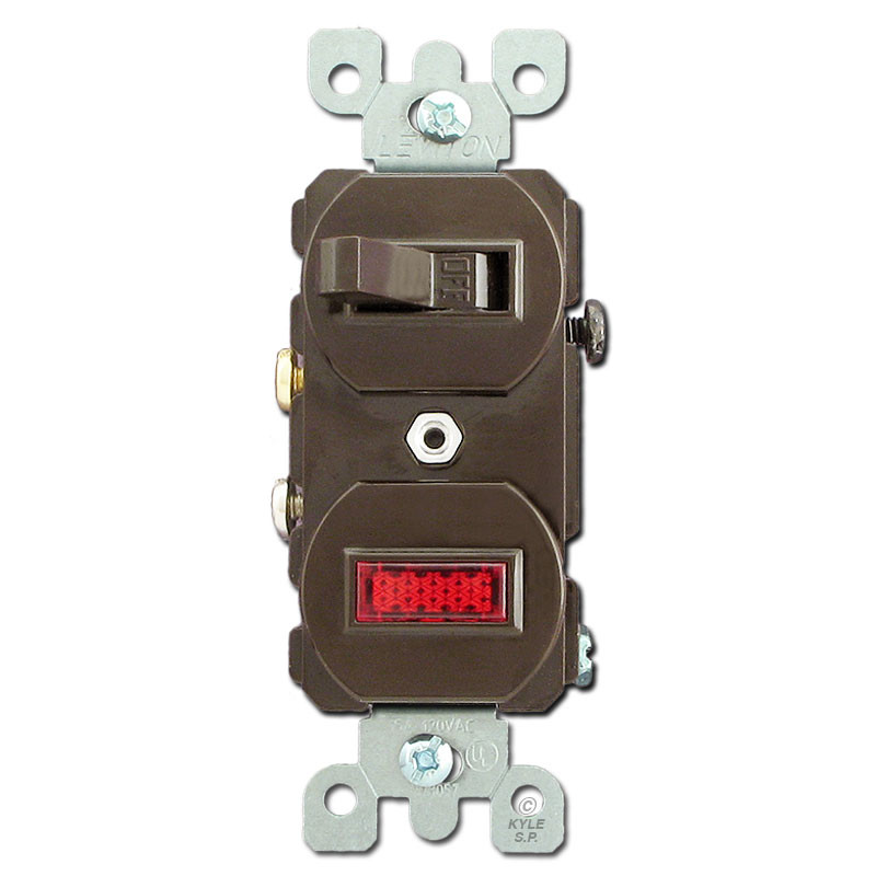 Brown Duplex Toggle Switch With Pilot Light: Wiring Diagram Leviton 5226 At Johnprice.co