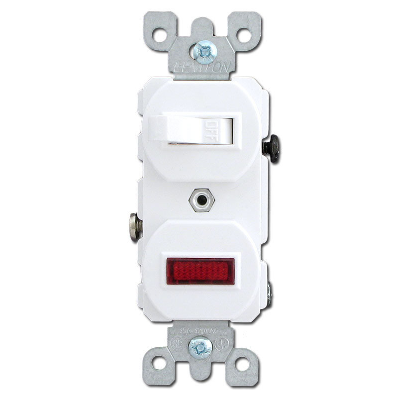 White Combo Duplex Toggle Switch and Pilot Light
