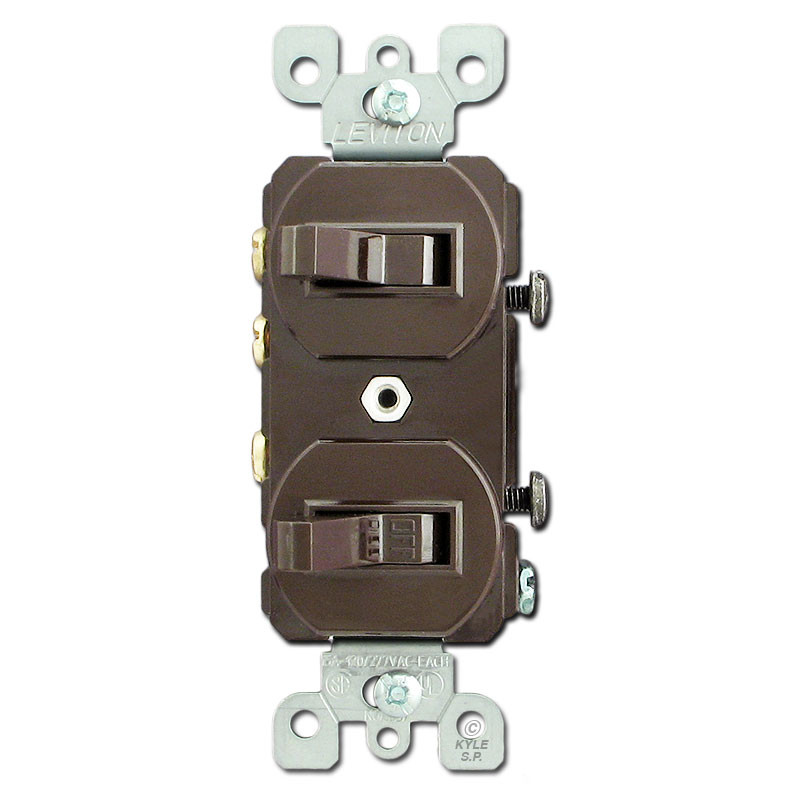Brown Duplex Switches with Single Pole and Three Way Toggles