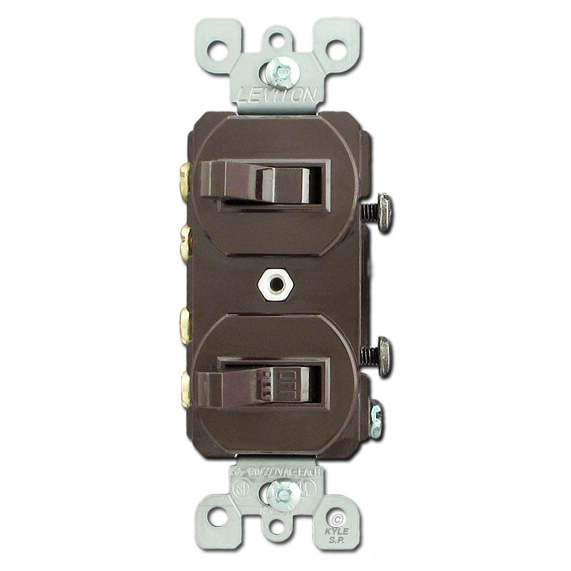 Brown Dual 3-Way Horizontal Toggle Switches