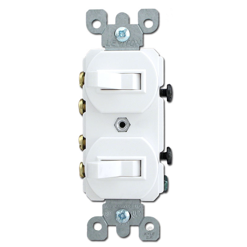 White Duplex Switch with Two 3 Way Toggles Kyle Switch Plates