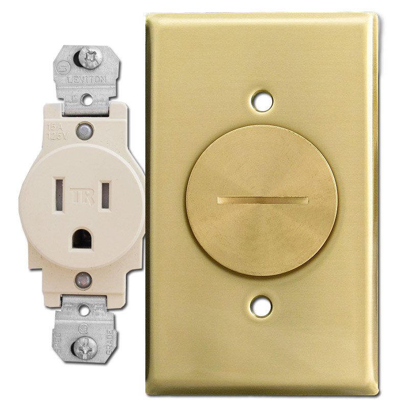 15A Single Receptacle Floor Box With Brass Switch Plate, Leviton