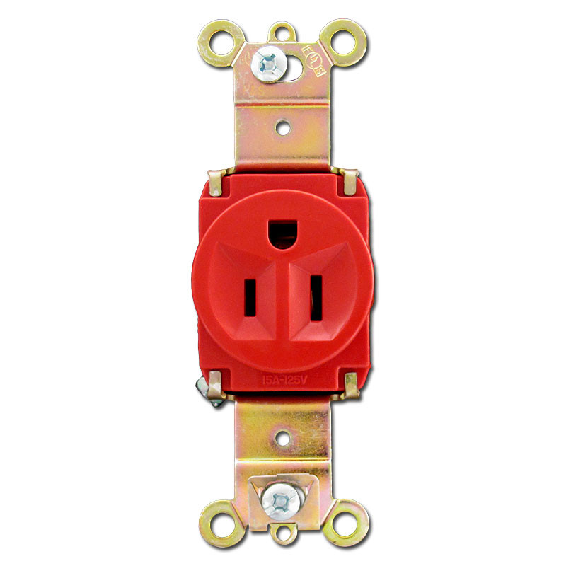 Red 15A Single Round Outlet Receptacle   Kyle Switch Plates