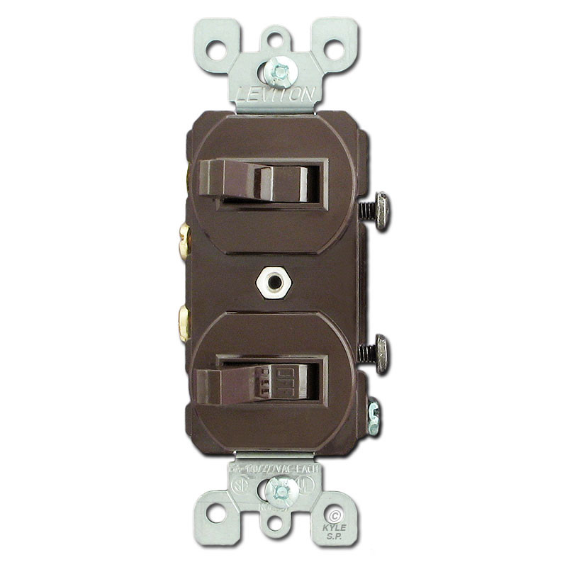 Brown 20A Duplex Two Single Pole Toggle Switches Leviton 5334