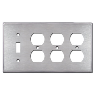 3 Duplex Outlet + 1 Toggle Switch Plate - Satin Stainless Steel