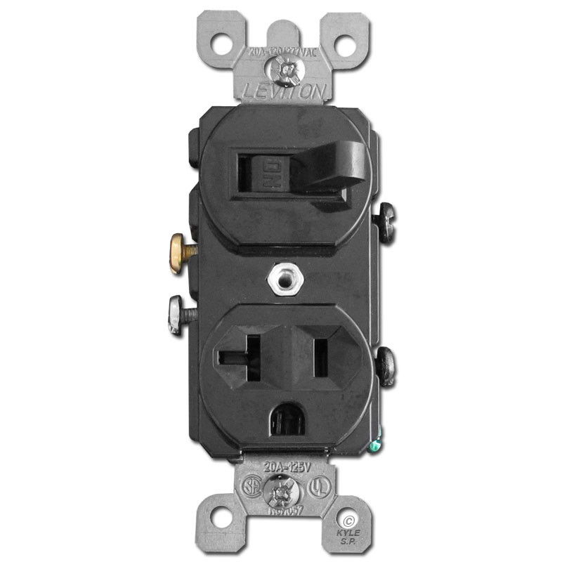 Black Duplex 20A Receptacle & Horizontal Toggle Switch Leviton 5335