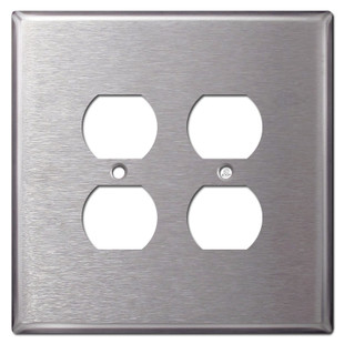 Oversized 2 Gang Outlet Cover - Satin Stainless Steel