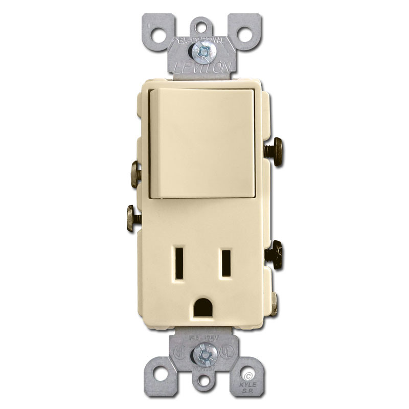 Ivory Combo Rocker Switch - Electrical Outlet