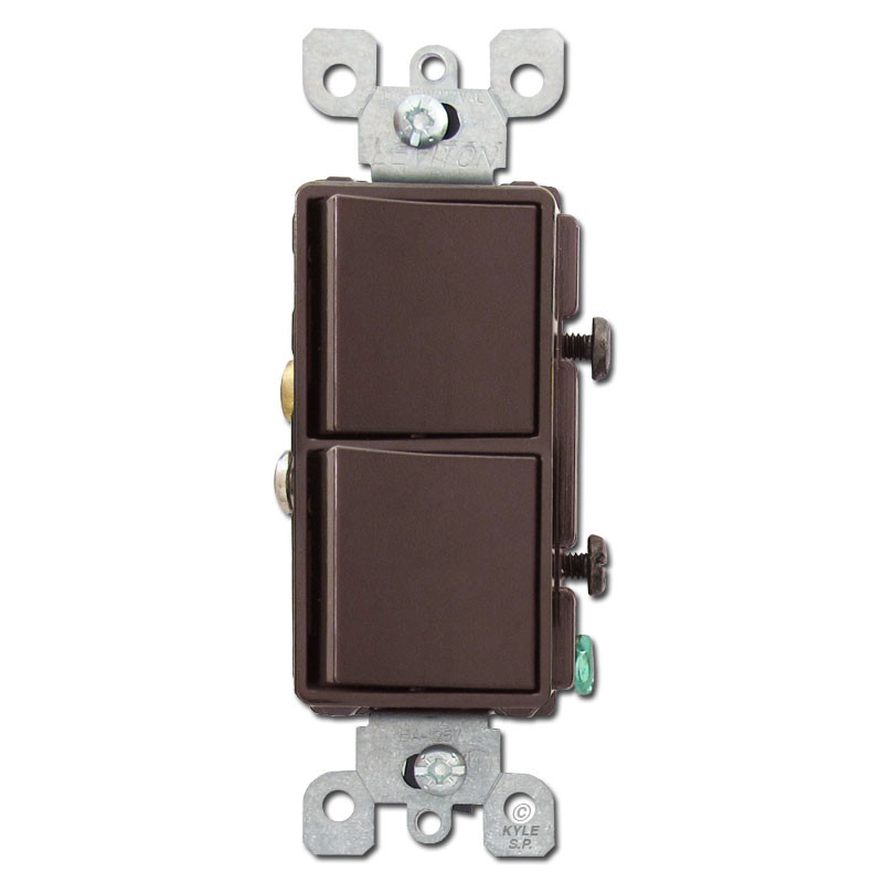 Brown Decora Rocker Switches for Electric Light Plates