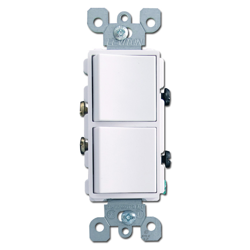 White Dual Single Pole Decora Rocker Switches