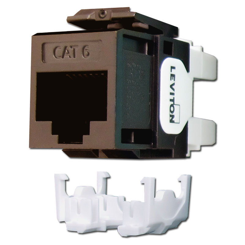 Leviton Brown Cat 6+ Ethernet Jack for QuickPort Frames