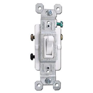 White 15A 3 Way Toggle Switch