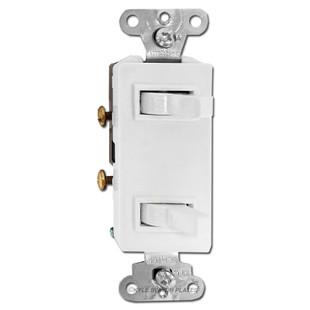 White Decora Double Toggle Switch
