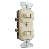 Ivory Horizontal Double Toggle Duplex Switch