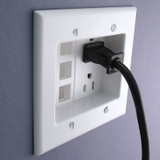White Leviton Recessed Outlet with 6 Port Connectors