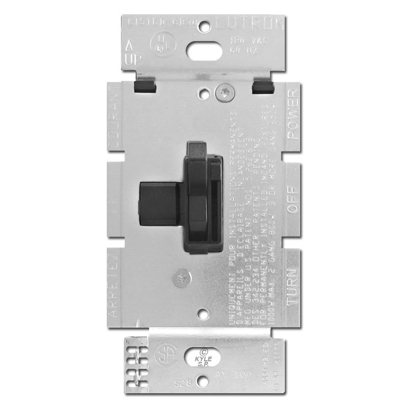 Black 1000W Toggle Dimmer Switch Lutron AY10PBL