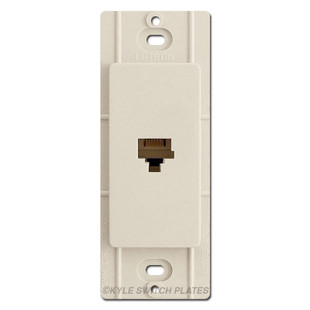 Light Almond Phone Jack Device for Decorator Switch Plates