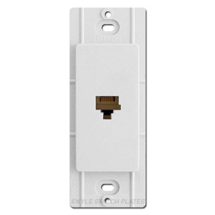 White Phone Jack Device for Decora Rocker Switch Plate