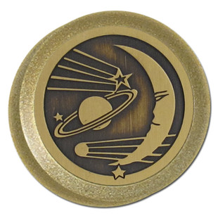 Brass Celestial Design on Antique Brass Dimmer Knob