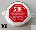 "2"" METAL RING PRINTED ""STOP"" Plastic CAPSEALS Package of 6"