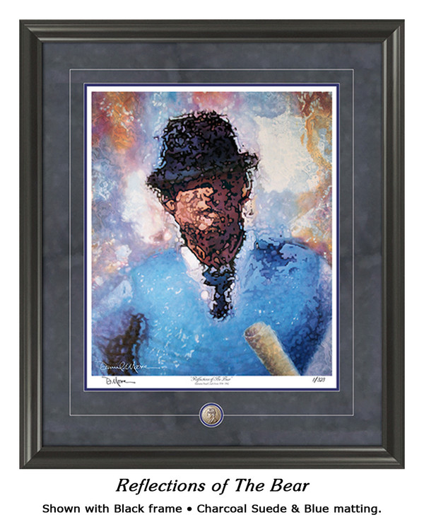 """Reflections of the Bear"" print shown in our Black frame with Charcoal Suede/Blue matting."
