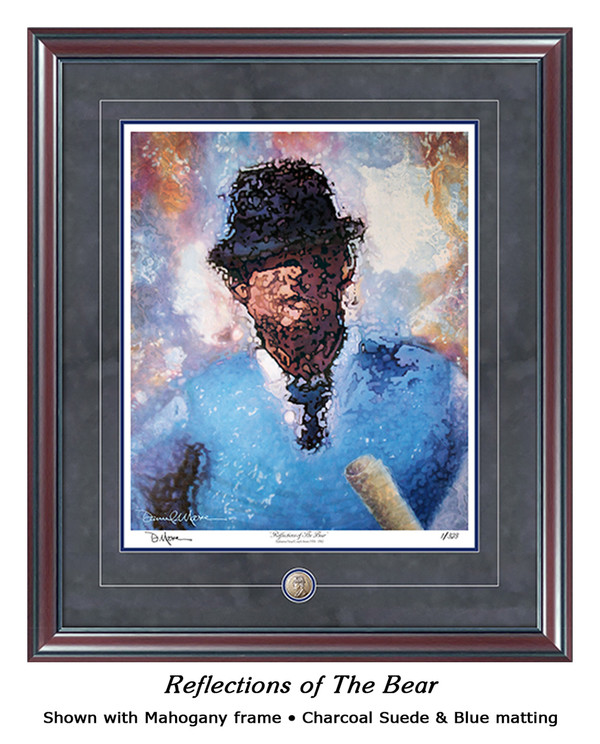"""Reflections of the Bear"" print shown in our Mahogany frame with Charcoal Suede/Blue matting."