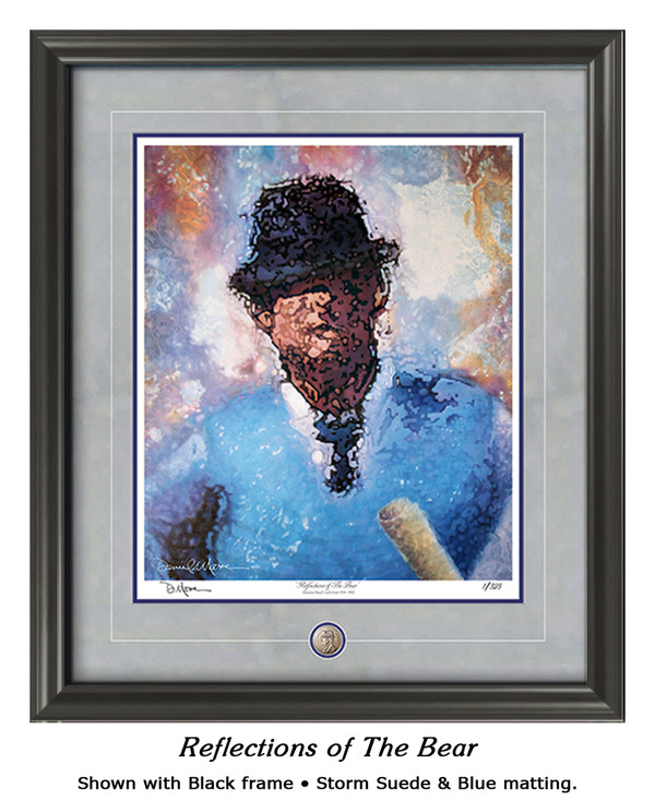 """Reflections of the Bear"" print shown in our Black frame with Storm Suede/Blue matting."