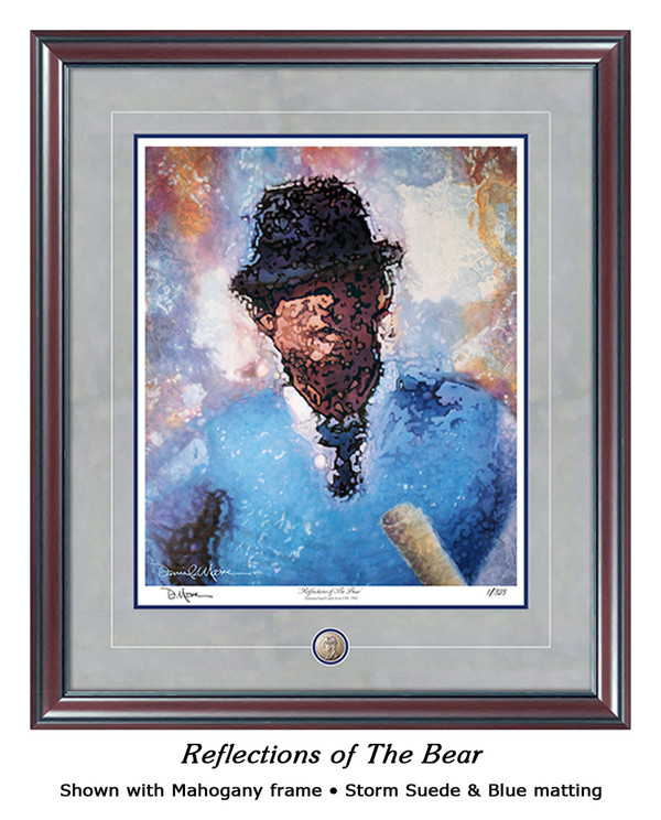 """Reflections of the Bear"" print shown in our Mahogany frame with Storm Suede/Blue matting."