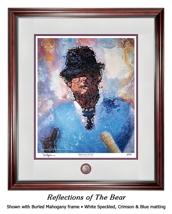 """Reflections of the Bear"" print shown in our Burled Mahogany frame with Speckled White/Crimson/Blue matting."