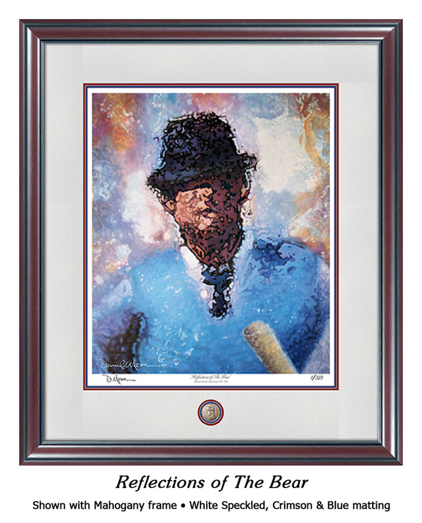 """Reflections of the Bear"" print shown in our Mahogany frame with Speckled White/Crimson/Blue matting."