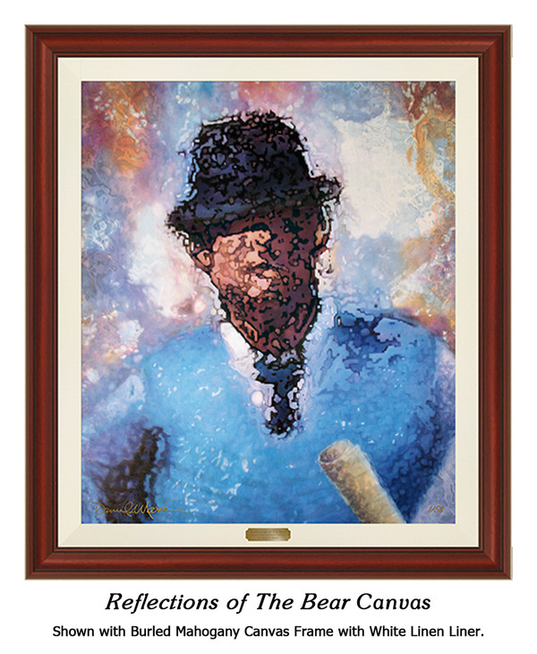 """Reflections of the Bear"" canvas shown in our Burled Mahogany frame with white linen liner."