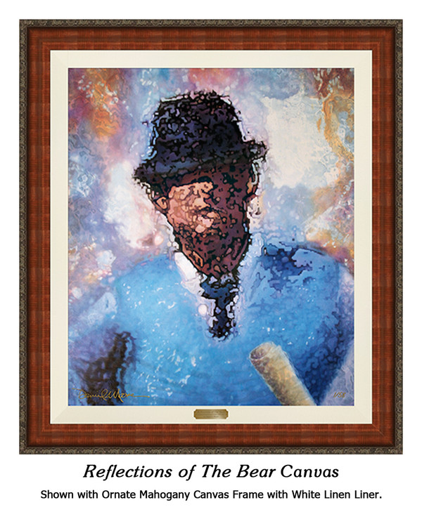 """Reflections of the Bear"" canvas shown in our Ornate Mahogany frame with white linen liner."