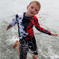 Kids (Big Kids) Shattered Rashguard - Red PWC Jetski Ride & Race