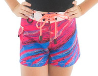 Little Girls Scratch Shorts - Pink PWC Jetski Ride Apparel