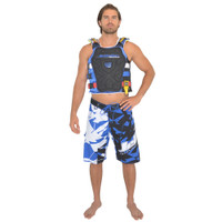 Shattered Men's Board Shorts Blue PWC Jetski Ride & Race Apparel
