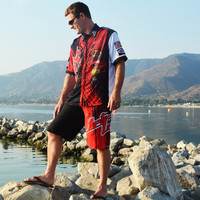Men's Pit Shirt Spike Red PWC Jetski Ride & Race Jet Ski Apparel