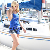 Ladies Cross Hatch Shorts - Dark Blue PWC Jetski Ride Apparel