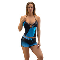 Metallic Teal Blue Tankini Top - PWC Jetski Ride & Race Swimwear
