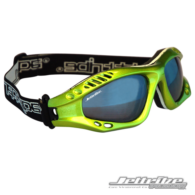 Front/Side View- Expert Goggles: Lime Metallic Frame/Smoke including Case