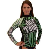 Longsleeve Rashguard Unisex Shockwave Green PWC Jetski Ride & Race