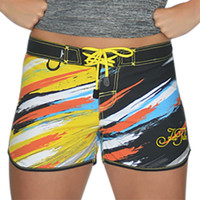 Scratch Ladies Board Shorts Orange / Multi PWC Jetski Ride & Race