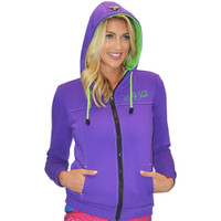 Ladies Zip-Up Hooded Sweatshirt Purple PWC Jetski Ride & Race