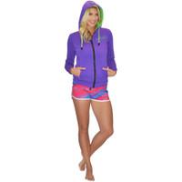 Ladies Zip-Up Hooded Sweatshirt Purple PWC Jetski Ride & Race