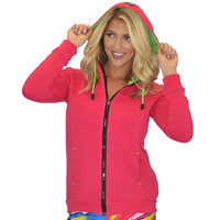 Ladies Zip-Up Hooded Sweatshirt Pink PWC Jetski Ride & Race