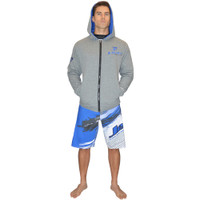 Zip Up Men's Hooded Sweatshirt - Grey/Blue PWC Jetski Ride & Race
