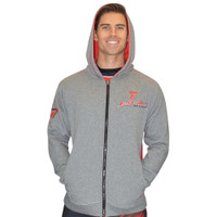 Zip Up Men's Hooded Sweatshirt - Grey/Red PWC Jetski Ride & Race