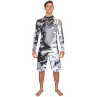 Longsleeve Shattered Rashguard Grey PWC Jetski Ride & Race Apparel