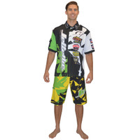 Men's Pit Shirt Shattered Green PWC Jetski Ride & Race Apparel